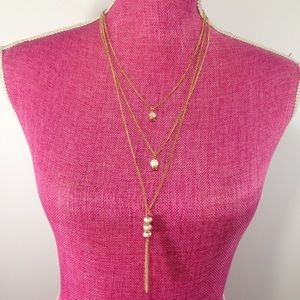 NWT Gold Thin Layered Chain Necklace W Beads